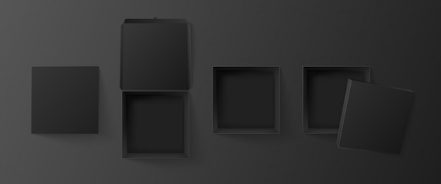 Black square box top view. empty cube package, pizza packaging  and dark paper gift boxes realistic 3d illustration set. open and closed products carton boxes cliparts collection