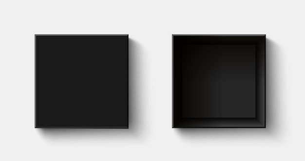 Черная квадратная коробка, вид сверху, открытые и закрытые подарочные коробки
