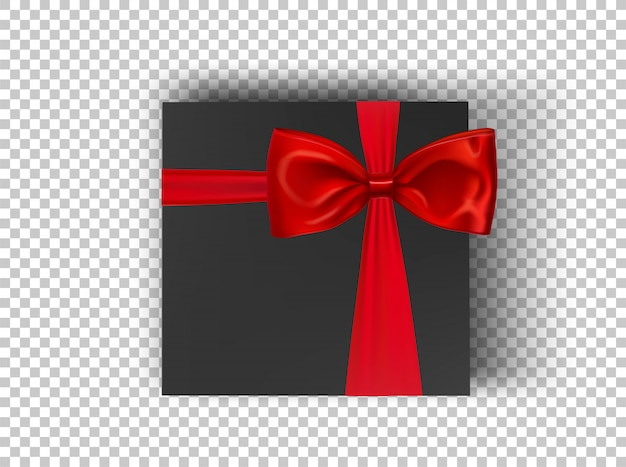 Black square cardboard box with red ribbon and bow on transparent