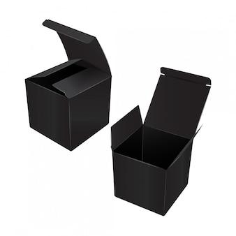 Black square cardboard plastic package box.