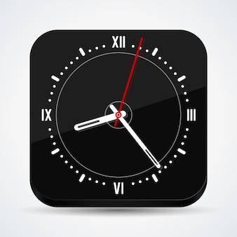 Black square clock vector icon