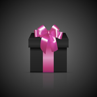 Black square gift box with pink ribbon and bow