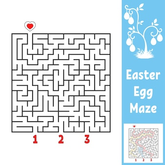 Black square labyrinth. kids worksheets. activity page. game puzzle for children. easter, egg, holiday.