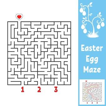 Черный квадратный лабиринт. детские рабочие листы. страница активности. игра-головоломка для детей. пасха, яйцо, праздник.
