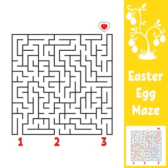 Black square labyrinth. kids worksheets. activity page.
