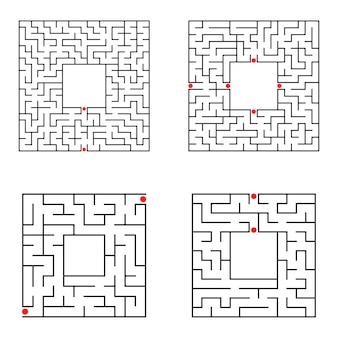 Рабочий лист черного квадрата лабиринта Premium векторы