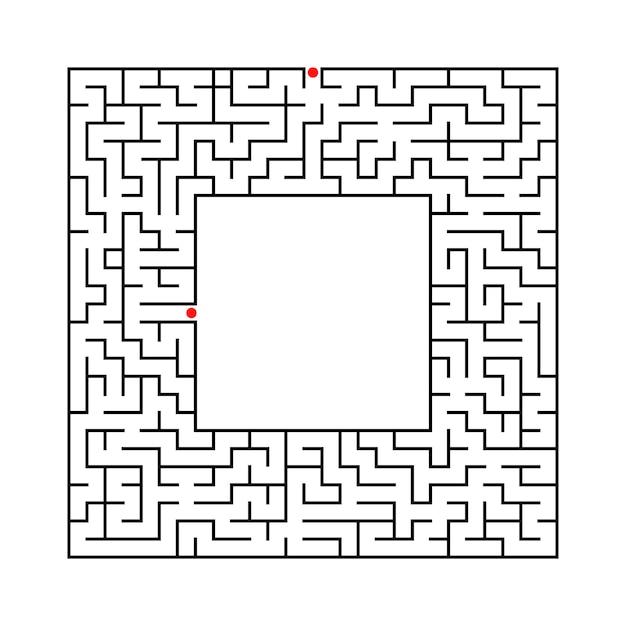 Рабочий лист черного квадрата лабиринта для детей