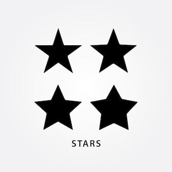 Набор значков чёрных звезд