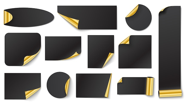 Black stickers with gold. sticker gold corner on white, vector blank black illustration with corner curl