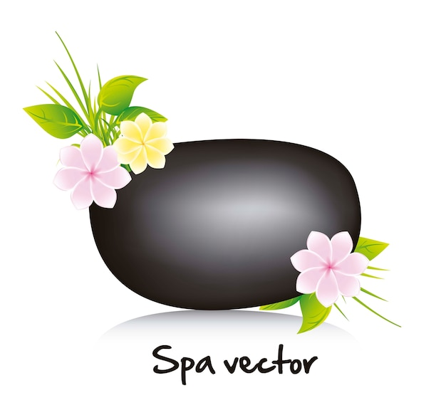 Black stone spa with flowers and leaves vector illustration
