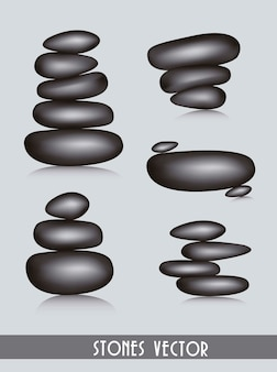 Black stones spa over gray background vector illustration