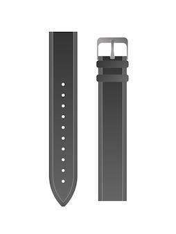 メンズウォッチ用のブラックストラップ。革時計バンドベクトル。孤立。