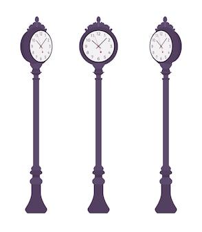 Черные уличные часы установлены. тротуарный столб для установки на городской пейзаж или в парк для измерения времени, часов, минут. ландшафтная архитектура и городская концепция. иллюстрации шаржа стиля