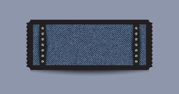 블루 데님 배경과 실버 스팽글이있는 블랙 스텁 티켓.
