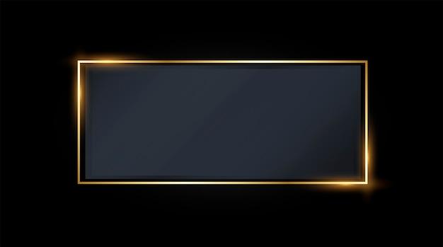 会社のタイポグラフィのロゴ名の金色のフレームテンプレートと黒のスタイルの背景