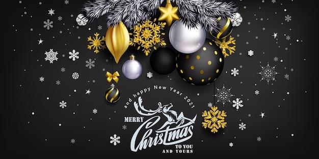 Black stylish christmas composition with balls