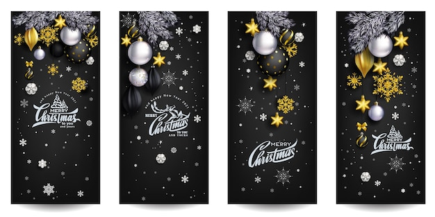 Black stylish christmas composition with golden decor