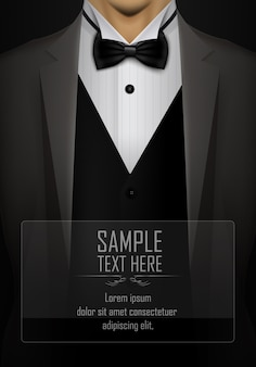 Black suit and tuxedo with bow tie template