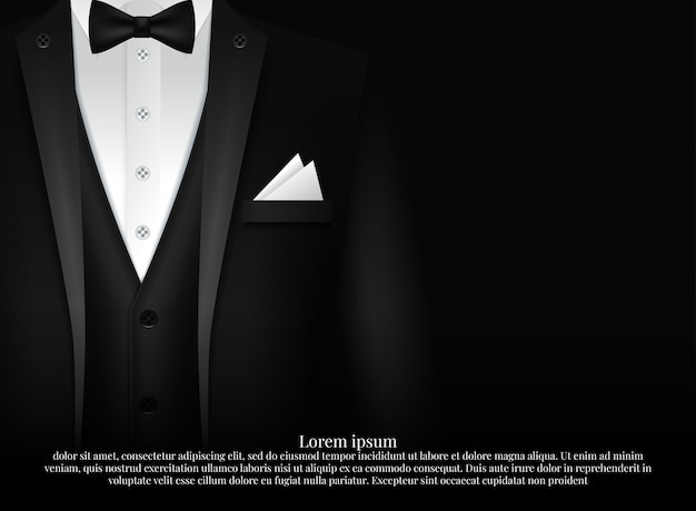 Black suit and tuxedo with bow tie