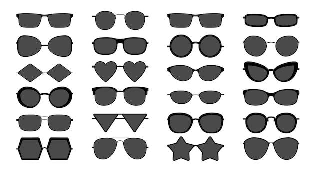 黒のサングラスのシルエット。さまざまな形のモダンでスタイリッシュでエレガントなシェーディングサングラス、クールなアクセサリーの分離セット