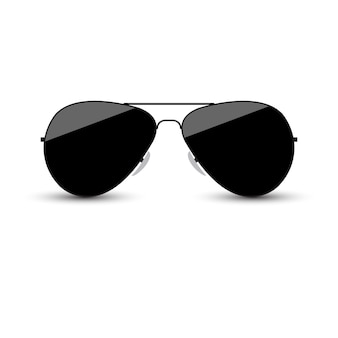299654ebe9b Black sunglasses with dark glass on white background.