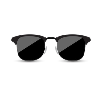 Black sunglasses with dark glass on white background.