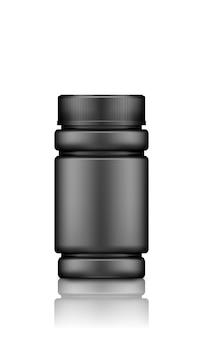 Black supplement or medicine pills bottle mockup isolated on white background