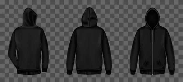 지퍼 전면 및 후면 모습의 블랙 스웨트 셔츠