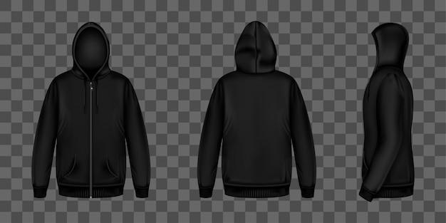 ジッパー、フード、ポケット付きの黒のスウェットシャツ