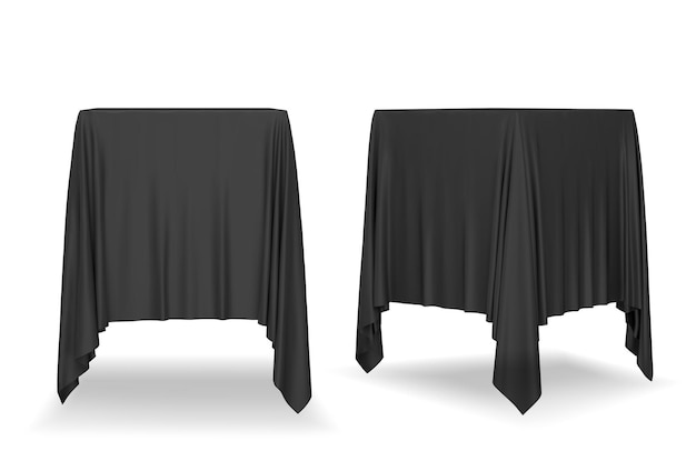 Black  tablecloth isolated on white background.