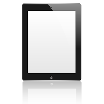 Black tablet computer (pc) with blank screen isolated