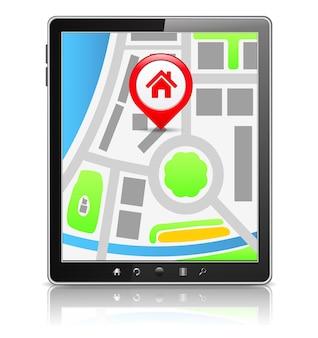 画面に地図が表示された黒いタブレットpc