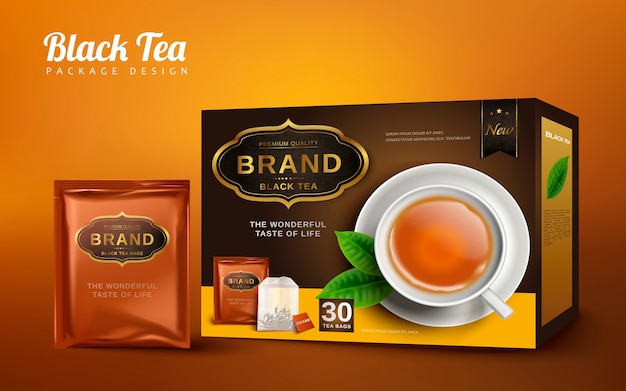 Black tea box and handy package , isolated brown background
