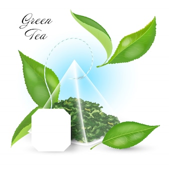 Black tea concept with pyramidal tea bag and realistic leaves .  illustration.