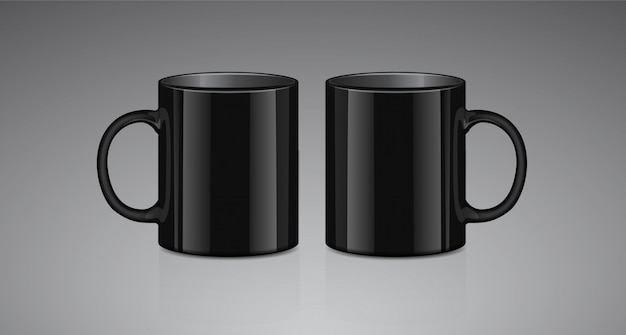 Black tea mug. side view. realistic vector mock up cup template