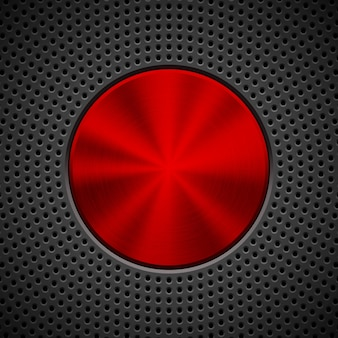 Черный технологический фон с круговой решеткой, перфорированными скосами и металлической круглой текстурой