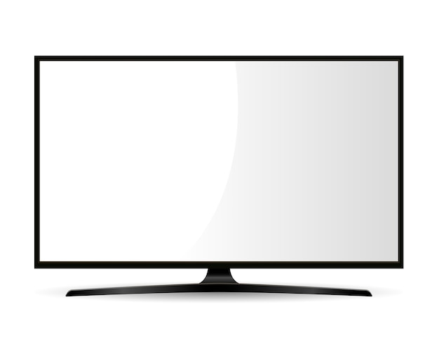 Black television with white screen. wide monitor.