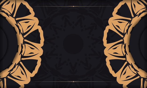 あなたのロゴのための装飾品と場所が付いている黒いテンプレートバナー。豪華なパターンで背景をデザインします。