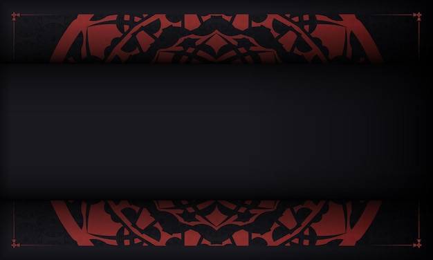 Black template banner with ornaments and place for your logo. design background with vintage patterns.