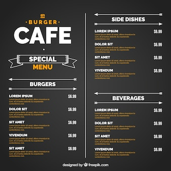 Black template with orange and white burger menu