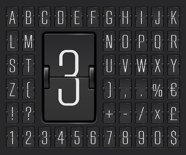 Black terminal mechanical scoreboard font with numbers to display destination and timetable vector illustration. airport flip board alphabet for showing flight departure or arrival information.