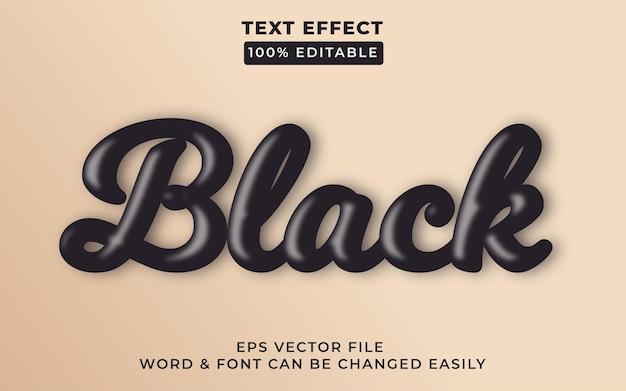 Стиль эффекта черного текста эффект редактируемого текста