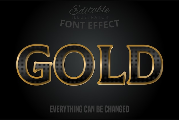 Black text effect with gold extrude