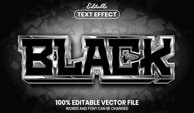Black text, font style editable text effect