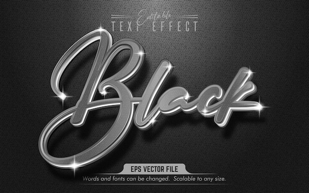 黒のテキスト、シバースタイルの編集可能なテキスト効果