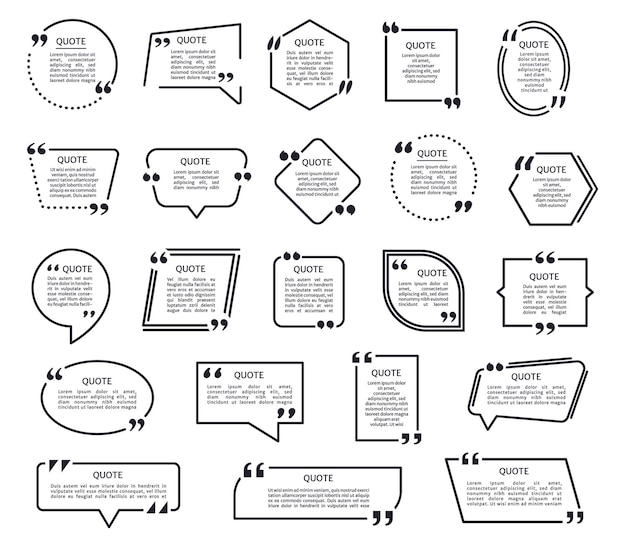 Black texting frames quotes boxes with quotation marks speech bubble mention text frame set