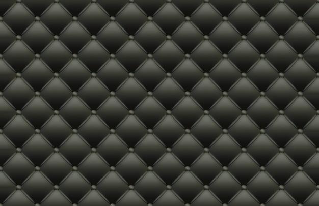 Черная текстура кожаной стеганой кожи