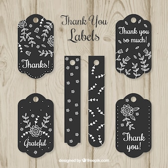 Black thank you labels collection