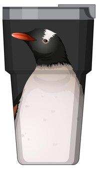 Un thermos nero con motivo a pinguino