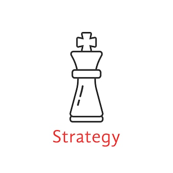 Black thin line chess king. concept of adversary, player, career, boss, leisure, tactical goal, idea, power, attack, analysis. flat style modern logotype design vector illustration on white background